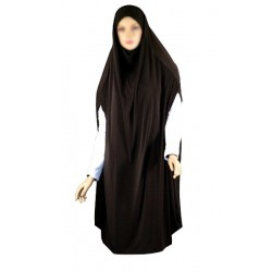 Large cape - Long prayer hijab for women with slits - Brown color