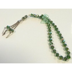 Sabha Rosary 33 green crystal beads with silver metallic decorations