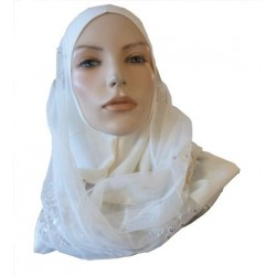 Off-white 1-piece hijab scarf with patterns