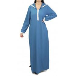 Djellaba marocaine pour femme avec dentelle et capuche (plusieurs couleurs disponibles)