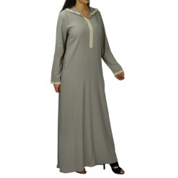 Moroccan djellaba for women with lace and hood - Light taupe color