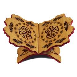 Porte Coran traditionnel en bois décoré - Support Livre (30 x 20 cm)