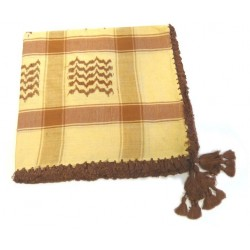 Large Palestinian scarf (Keffiyeh - Shmagh) in beige and burgundy color