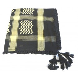 Large Palestinian scarf (Keffiyeh - Shemagh) in black color