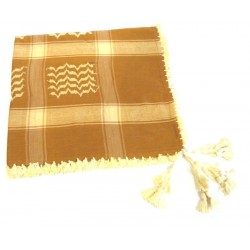 Large Palestinian scarf (Keffiyeh - Shemagh) in brown color