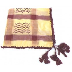 Large Palestinian scarf (Keffiyeh - Shemagh) in burgundy and beige color