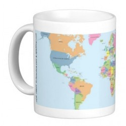 "Mug ""I revise my geography"" (Geographic map of the world) for children"