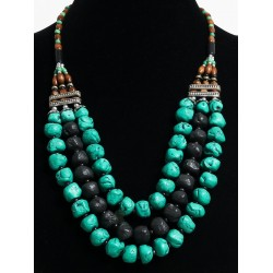 Ethnic artisanal necklace imitation black turquoise stones and pearls arranged with...