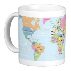 """Personalized educational mug """"Geographic map of the world with flags"""" (French / Arabic..."""