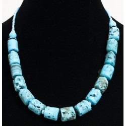 Ethnic handmade necklace for women imitation turquoise coral and pearls