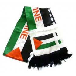 Palestinian scarf in satin fabric in the colors of the Palestinian flag inscribed above...