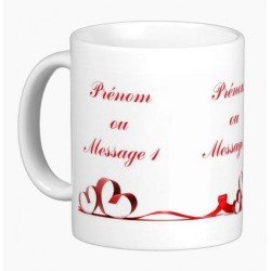 Personalized mug (name, message, etc.): Red ribbon in hearts