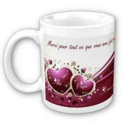 Personalized mug (first name, message, etc.): 4 hearts