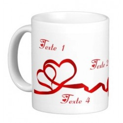 Customizable mug (names & messages): Ribbons in the form of hearts