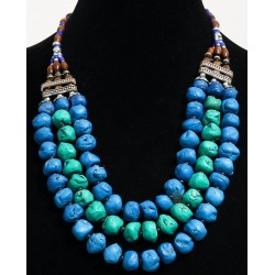 Fancy necklace imitation blue turquoise stones and pearls arranged by chiseled silver...