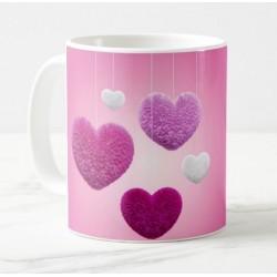 Mug avec message personnalisé (Coeurs - rose)