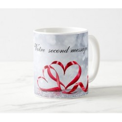 Personalized gift mug with name and message (Red hearts)