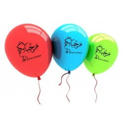 """Pack of 10 multicolored balloons """"Bienvenue"""" (Arabic and French) - مرحبا بكم"""