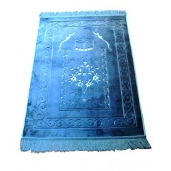 Large thick luxury rug in turquoise blue ocean with discreet patterns