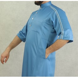 Luxury Qamis short sleeves shiny fabric in blue color