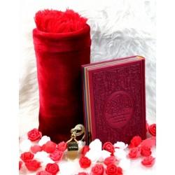 Coffret/Package Cadeau Bordeaux: Le Saint Koran français/arabe/phonetic Rainbow (Arc en...