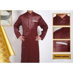 Qamis de qualité supérieure couleur bordeaux avec poche stylée grise (Marque Al-Bai)