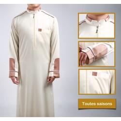 Qamis haut de gamme style moderne de couleur blanc cassé (tissu satiné)