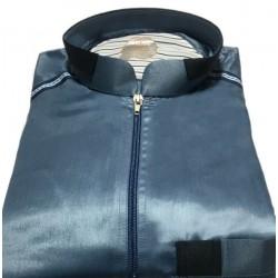 Qamis haut de gamme style moderne de couleur bleu nuit (tissu satiné)