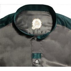 Modern luxury satin Qamis brown and green color mandarin collar