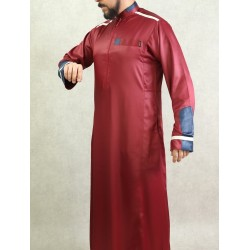 Qamis man upscale modern style in burgundy and blue colors (satin fabric)