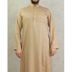 Classic men's Qamis of superior quality with slightly satin fabric beige color