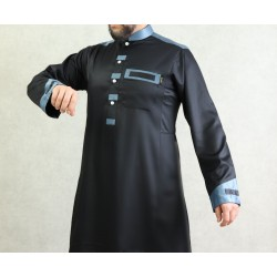 Qamis man modern luxury satin black and blue color mandarin collar
