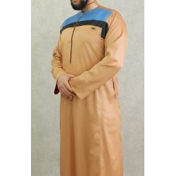 Modern high-end men's Qamis in beige, brown-burgundy and blue (satin fabric)