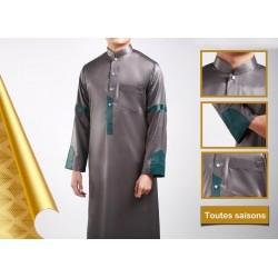Qamis modern luxury satin gray color