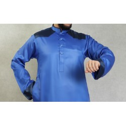 Luxury modern satin Qamis for men - Blue color