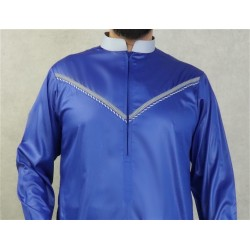 Elegant Qami of superior quality satin fabric for man-Color blue king