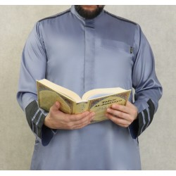 Modern luxury Qamis satin fabric for man-Color gray