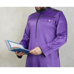 Qamis de luxe pour homme-Tissue superior satin-Couleur purple et noir