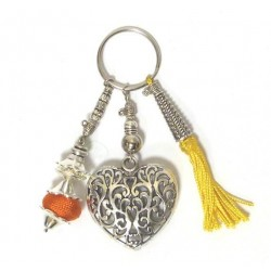 Handcrafted big heart keychain and charms in chiseled silver metal and yellow sabra pompom