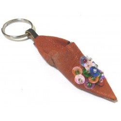 Traditional Moroccan slipper keychain in orange leather with multicolored strass