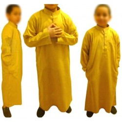 Long Qamis for Muslim children (collar and long sleeves) - Size 32 (From 5 to 6 years old)