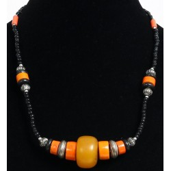 Ethnic artisanal necklace black pearls discs and orange tubes with chiseled silver accents