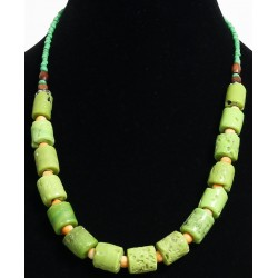 Ethnic necklace imitation pistachio green coral embellished with green and yellow...