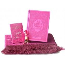 Coffret cadeau prière pour femme : Le Saint Coran de luxe couverture daim rose - Tapis...