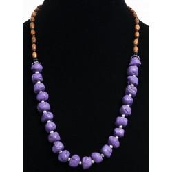 Ethnic artisanal necklace imitation mauve stones embellished with black pearls, silver...