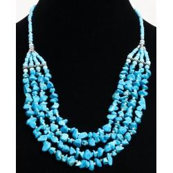 Ethnic artisanal necklace four rows imitation turquoise stones embellished with...