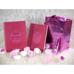 """Cadeau pas cher pour femme musulmane de couleur rose avec 2 livres """"Les 40 hadiths..."""