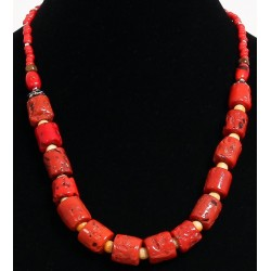Ethnic necklace one row of pieces imitation red coral arranged with yellow and red...