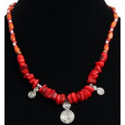 Handcrafted necklace imitation red coral stones arranged with pearls and embellished...