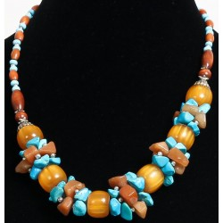 Ethnic necklace yellow balls and imitation turquoise stones decorated with pearls